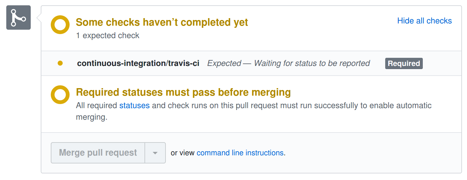 GitHub's merge dialogue box showing that expected tests have not completed.