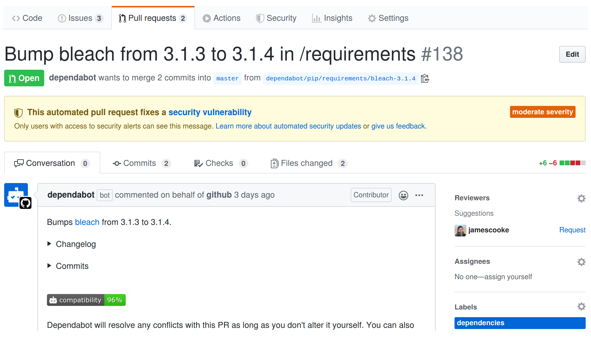 GitHub's Dependabot opened a PR to bump bleach in Flake8-AAA.