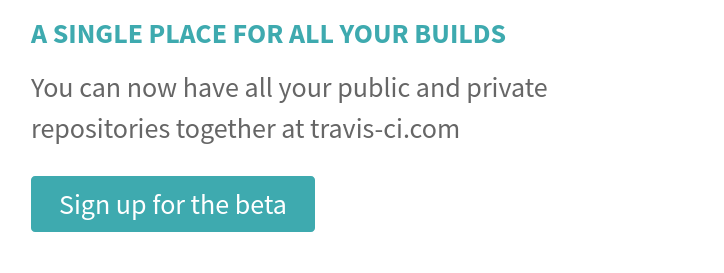 """Travis """"Sign up for beta"""" call to action"""