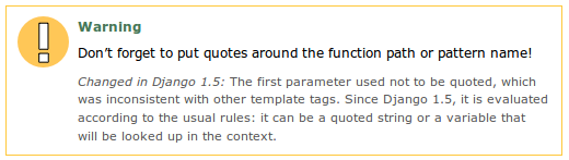 "Screenshot of warning from Django documentation. Warning reads: ""Don't forget to put quotes around the function path or pattern name!"